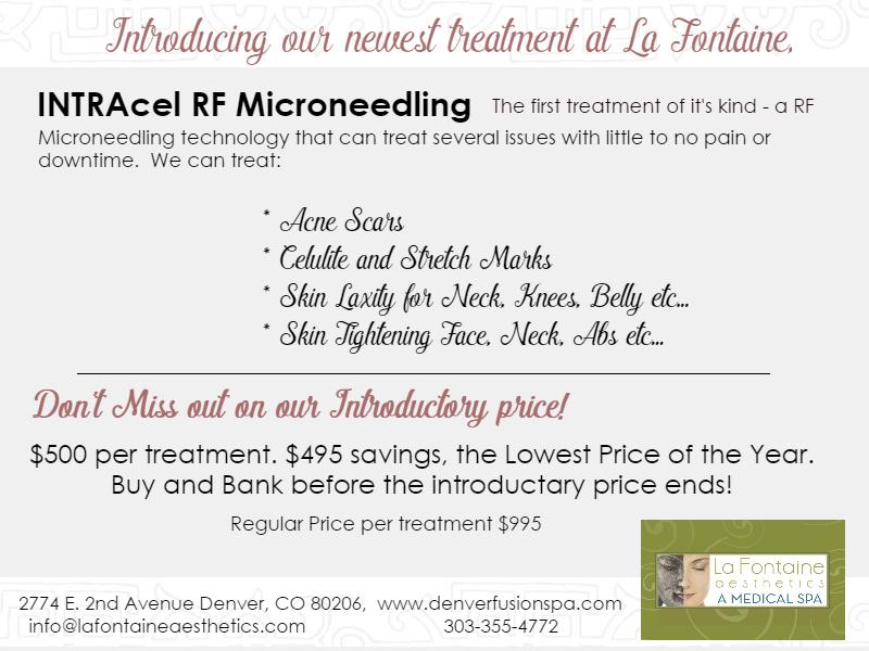 INTRAcel Fractional RF Microneedling denver colorado, microneedling colorado, rf microneedling cherry creek, fractional rf specials denver, co, microneedling specials denver